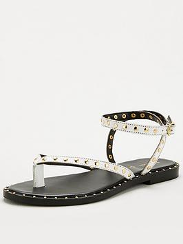 V by Very V By Very Herbik Leather Studded Toepost Sandal - White Picture