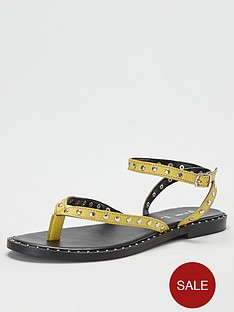 v-by-very-herbik-leather-studded-toepost-sandal-yellow