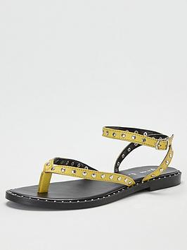 V by Very V By Very Herbik Leather Studded Toepost Sandal - Yellow Picture