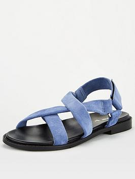 V by Very V By Very Harleigh Real Suede Strappy Footbed Sandal - Blue Picture