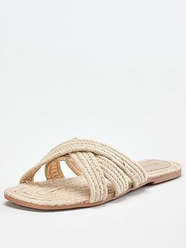 V by Very V By Very Harris Raffia Flat Slider - Natural Picture