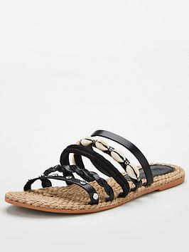 V by Very V By Very Hox Leather Shell Trim Strappy Sandal - Black Picture