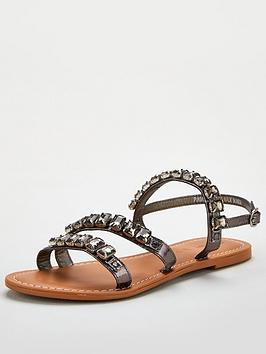 V by Very V By Very Halt Leather Embellished Sandal - Pewter Picture