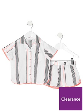 river-island-mini-mini-girlsnbspstripe-pyjama-set-white