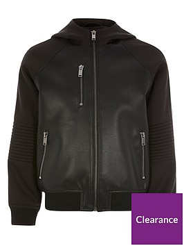 river-island-boys-faux-leather-hooded-bomber--nbspblack