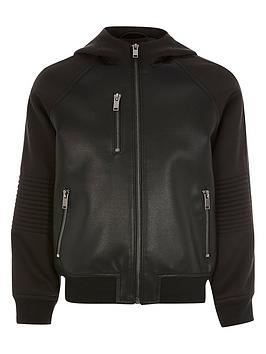 River Island River Island Boys Faux Leather Hooded Bomber - Black Picture