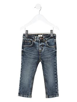River Island Mini River Island Mini Boys Sid Skinny Jeans - Dark Blue Picture