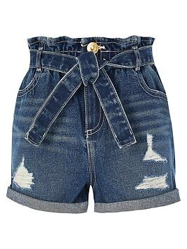 river-island-buzzy-paperbag-shorts-blue