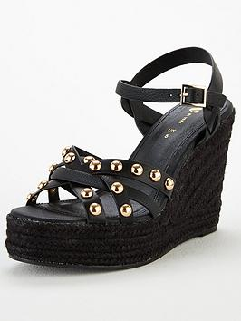 V by Very V By Very Dot Studded High Wedge Sandal - Black Picture