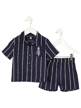 river-island-mini-boys-stripe-pyjama-set--nbspnavy