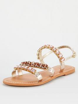 V by Very V By Very Halt Leather Embellished Sandal - Rose Gold Picture