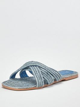 v-by-very-harris-raffia-flat-slider-blue