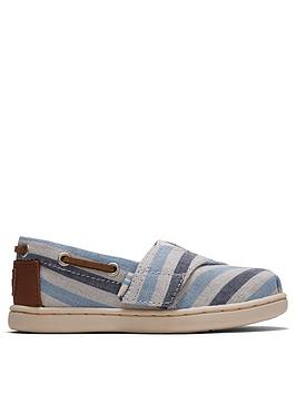 TOMS Toms Toddler Boys Alpargata Striped Canvas Shoe - Blue Picture