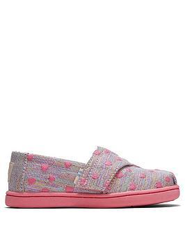 TOMS Toms Toddler Girls Alpargata Heart Print Canvas Shoe - Pink Picture
