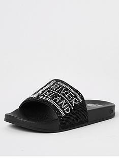 river-island-girls-ri-diamante-sliders-black