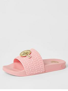 river-island-girls-panther-head-jelly-slider-pink