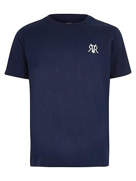 River Island River Island Boys Rvr Embroidered T-Shirt - Navy Picture