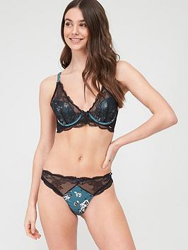 Boux Avenue Boux Avenue Romilly Thong - Black/Green Picture