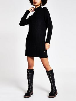 River Island Knitted Tunic Jumper - Black