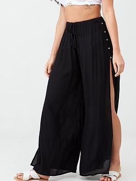 pour-moi-crinkle-button-up-detail-trouser-black