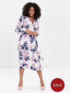 evans-blossom-print-shirt-dress-ivory