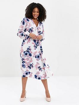 Evans Evans Blossom Print Shirt Dress - Ivory Picture
