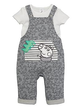 Peppa Pig Peppa Pig Baby Boy George Pig Dungaree And T-Shirt Set - Grey Picture