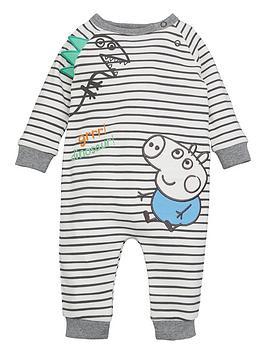 Peppa Pig Peppa Pig Baby Boy George Pig Striped Dinosaur Sleepsuit - Multi Picture