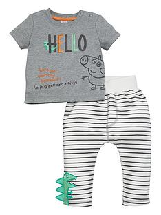 peppa-pig-baby-boy-george-pig-hello-t-shirt-and-striped-dinosaur-jogger-set-grey