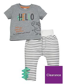 peppa-pig-baby-boy-george-pig-hello-t-shirt-and-striped-dinosaur-jogger-set-grey