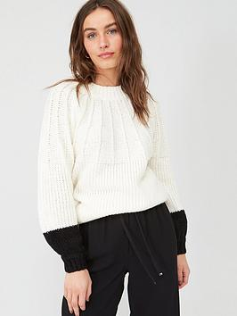 V by Very V By Very Stitch Neck Detail Knitted Jumper - White/Black Picture