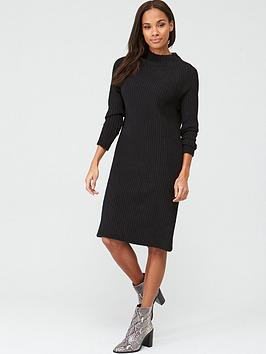 V by Very V By Very Knitted Grown On Neck Midi Dress - Black Picture