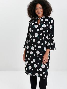 Evans Evans Neutral Floral Twist Neck Dress - Black Picture