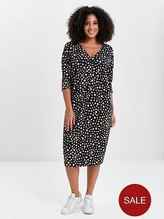 evans-polka-dot-button-pocket-dress-black