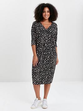 Evans Evans Polka Dot Button Pocket Dress - Black Picture