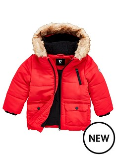v-by-very-boys-faux-fur-trim-hooded-parka-red
