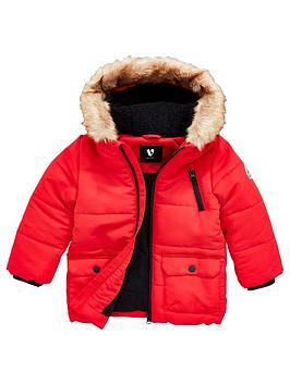 v-by-very-boys-shower-proof-faux-fur-trim-hooded-parka-red