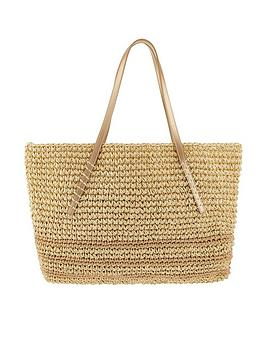 Monsoon Monsoon Cassie Stripe Straw Shoulder Bag - Natural Picture