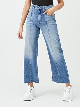 Calvin Klein Jeans   Seamed Wide Leg Jeans - Blue
