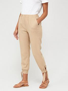 V by Very V By Very Linen Tie Hem Joggers - Beige Picture