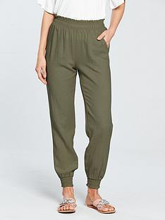 v-by-very-shirred-waist-linen-blendnbspjogger-khaki
