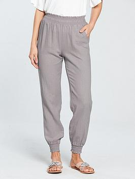 V by Very V By Very Shirred Waist Linen Blend Jogger - Grey Picture