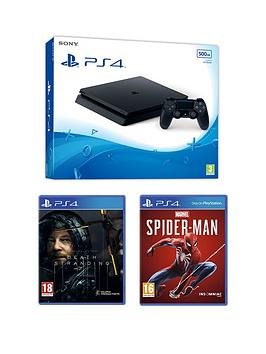 Playstation 4   500Gb Ps4 Black 500Gb Console With Death Stranding And Marvel'S Spider-Man