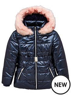 v-by-very-girls-shower-proofnbsphigh-shine-faux-fur-hooded-schoolnbspcoat-navy