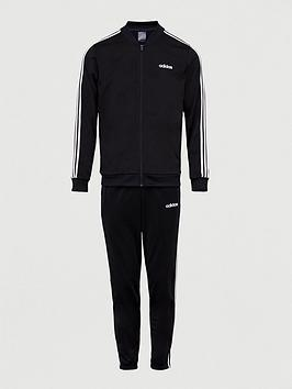 Adidas   Back To Basic 3-Stripe Tracksuit - Black/White