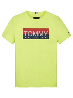 tommy-hilfiger-boys-reflective-logo-short-sleeve-t-shirt-yellow