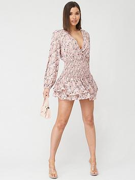 Missguided Missguided Wrap Front Shirred Waist Dress Floral Dress - Pink Picture