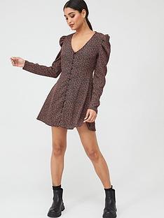 missguided-missguided-puff-sleeve-button-through-tea-dress-black