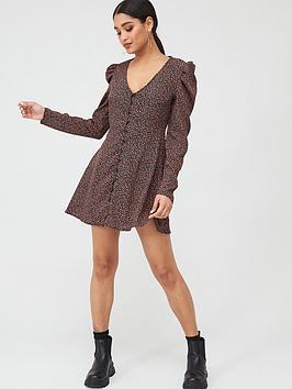 Missguided Missguided Missguided Puff Sleeve Button Through Tea Dress -  ... Picture