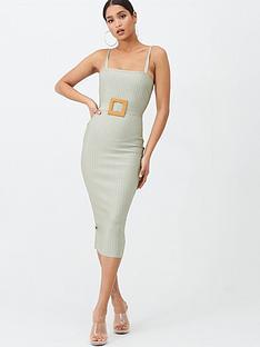 missguided-missguided-bandage-rafia-style-belt-midi-dress-mint
